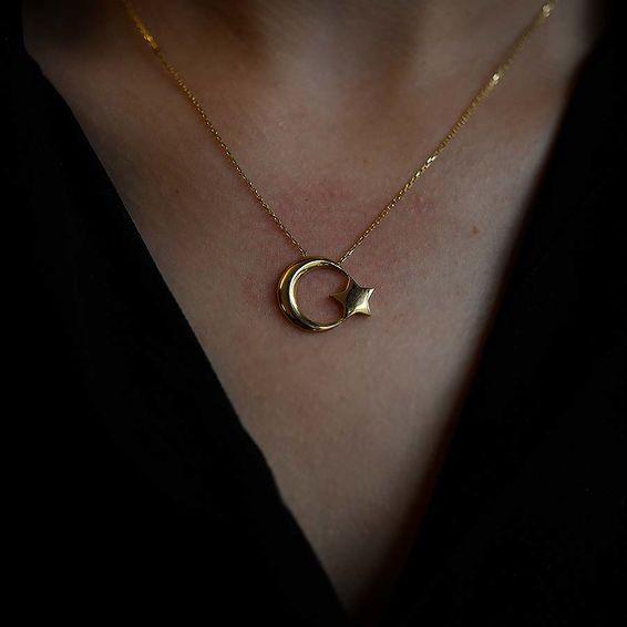 14 Ayar Ay Yıldız Altın Kolye
