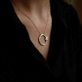 Mücevher Dünyası - 14 Ayar Ay Yıldız Altın Kolye