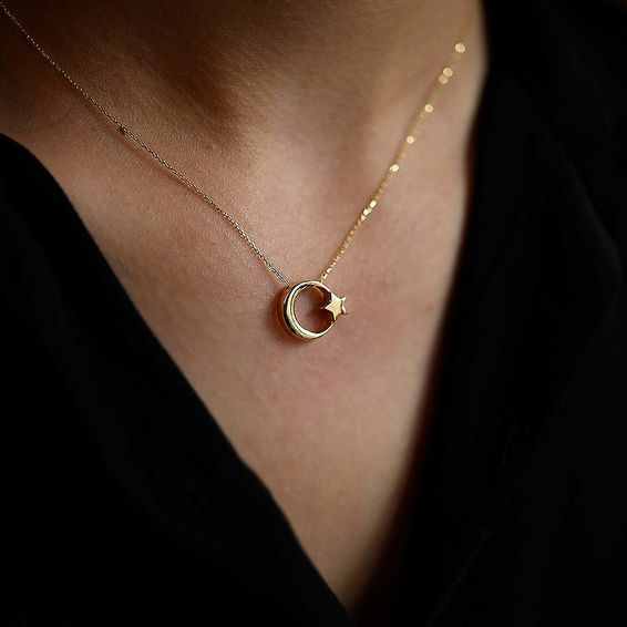 Mücevher Dünyası - 14 Ayar Ayyıldız Altın Kolye
