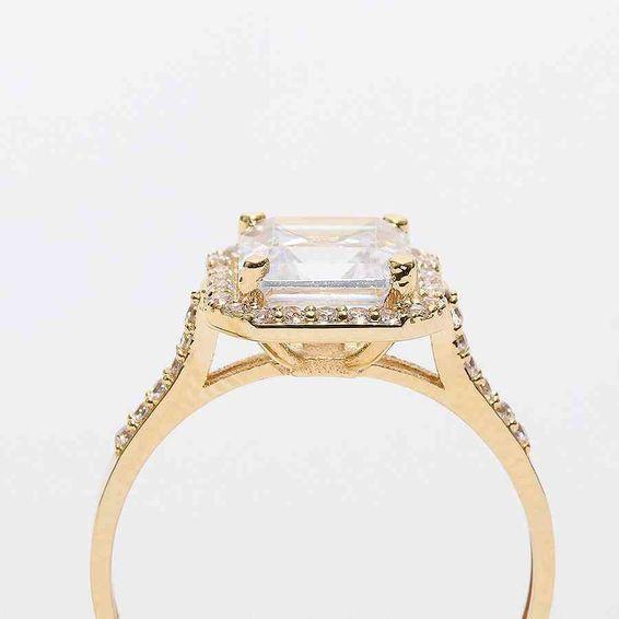 Mücevher Dünyası - 14 Ayar Baget Sarı Altın Yüzük | Mücevher Dünyası - 15