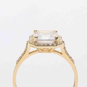 Mücevher Dünyası - 14 Ayar Baget Sarı Altın Yüzük   Mücevher Dünyası
