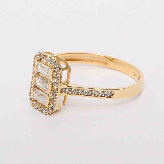 Mücevher Dünyası - 14 Ayar Baget Sarı Altın Yüzük | Mücevher Dünyası