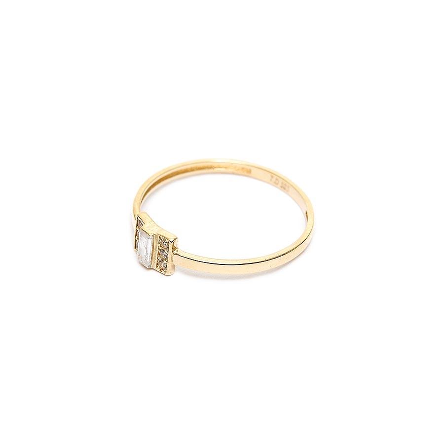 Mücevher Dünyası - 14 Ayar Baget Taşlı Altın Eklem Yüzük