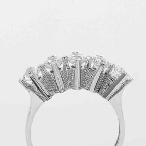 Mücevher Dünyası - 14 Ayar Beyaz Beştaş Altın Yüzük | Mücevher Dünyası