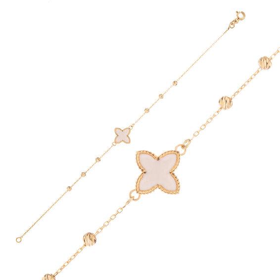 Mücevher Dünyası - 14 Ayar Beyaz Çiçek Dorika Altın Bileklik