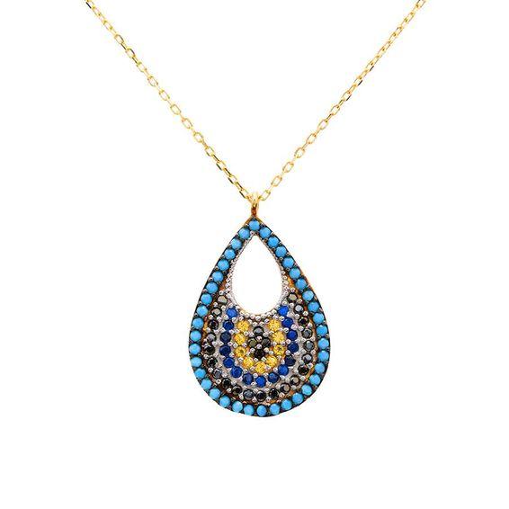 Mücevher Dünyası - 14 Ayar Taşlı Boncuk ve Damla Altın Kolye