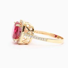 Mücevher Dünyası - 14 Ayar Büyük Kırmızı Taşlı Altın Yüzük | Mücevher Dünyası