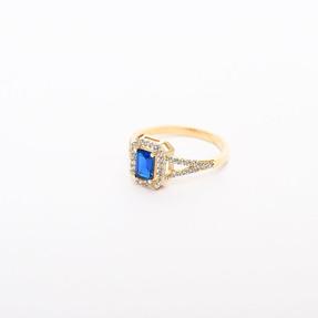 - 14 Ayar Büyük Mavi Taşlı Altın Yüzük | Mücevher Dünyası