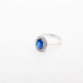 Mücevher Dünyası - 14 Ayar Büyük Mavi Taşlı Altın Yüzük | Mücevher Dünyası