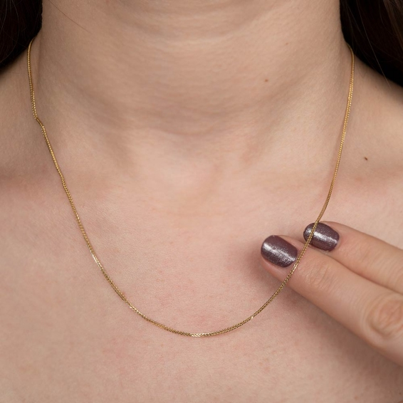 Mücevher Dünyası - 14 Ayar Çift Örgülü Fors Altın Zincir - 42 Cm. - 0,75 Mm.