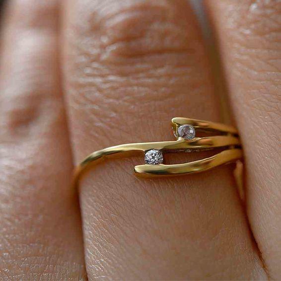 Mücevher Dünyası - 14 Ayar Çift Taşlı Altın Eklem Yüzük | Mücevher Dünyası