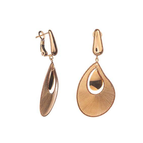 Mücevher Dünyası - 14 Ayar Damla Tasarım Altın Küpe