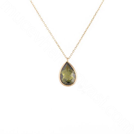 Mücevher Dünyası - 14 Ayar Damla Taşlı Altın Kolye