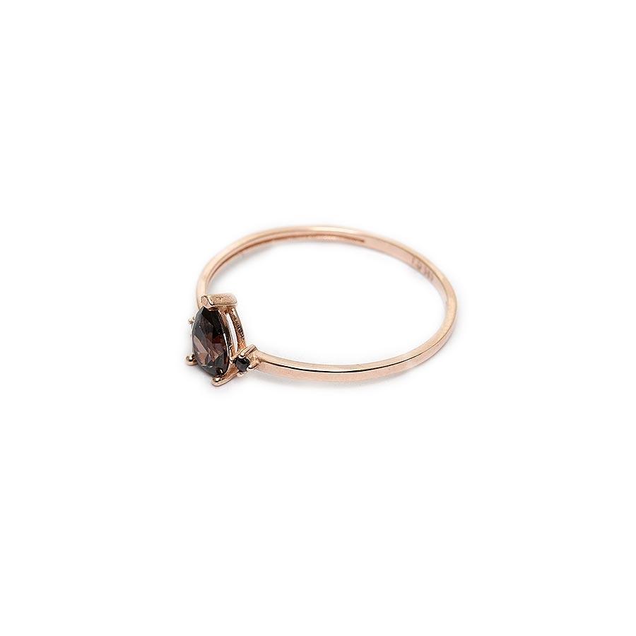 Mücevher Dünyası - 14 Ayar Üç Damla Taşlı Altın Eklem Yüzük