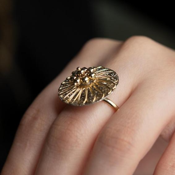 Mücevher Dünyası - 14 Ayar Desenli Altın Yüzük - 26