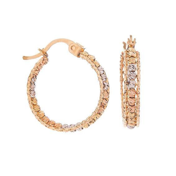 Mücevher Dünyası - 14 Ayar Sarı Beyaz Dorika Halka Altın Küpe