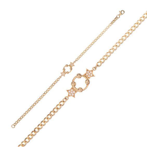 Mücevher Dünyası - 14 Ayar Taşlı Dorika Halka Yıldız Altın Bileklik
