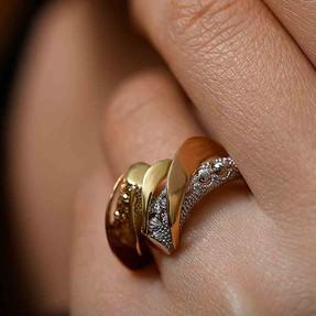 Mücevher Dünyası - 14 Ayar Dorika Model Altın Fantezi Yüzük | Mücevher Dünyası