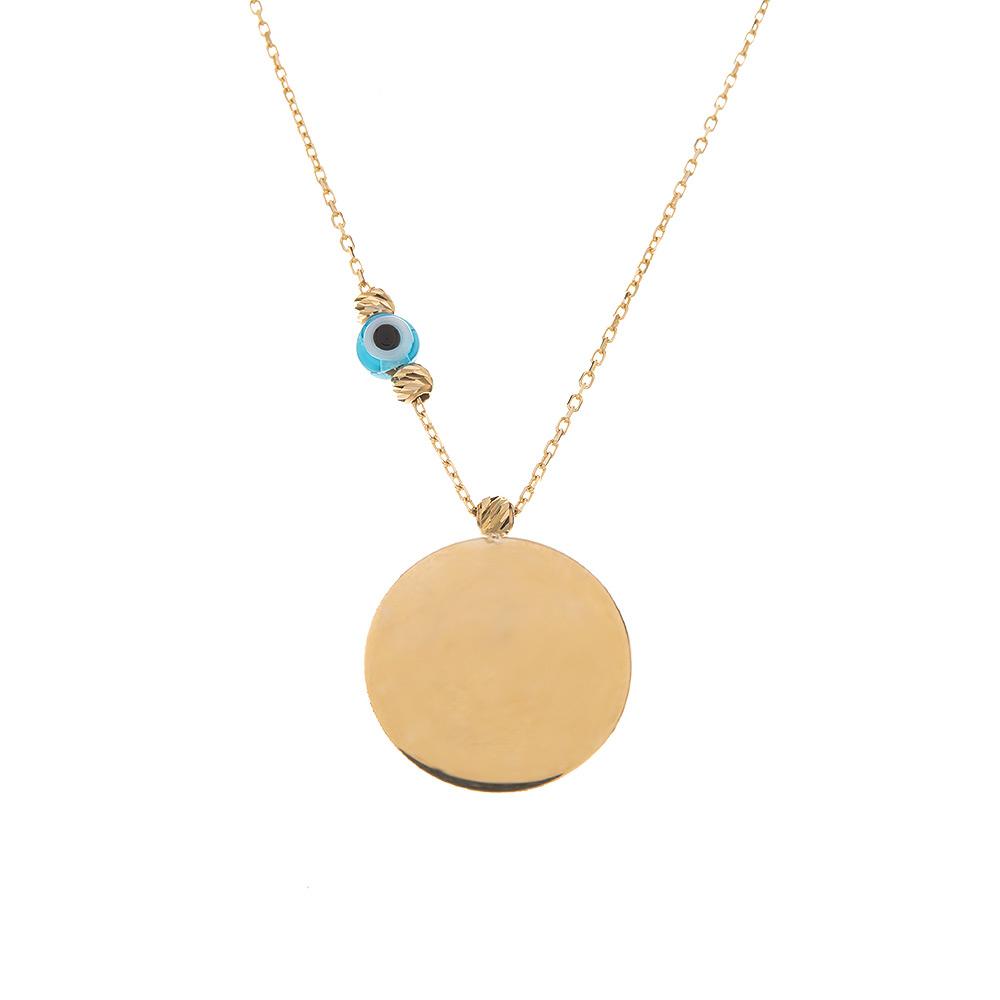 Mücevher Dünyası - 14 Ayar Dorika Taşlı Nazar Boncuklu Yuvarlak Plaka Altın Kolye