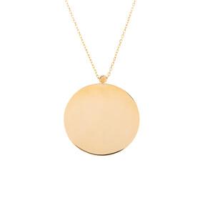 Mücevher Dünyası - 14 Ayar Dorika Toplu Yuvarlak Plaka Altın Kolye