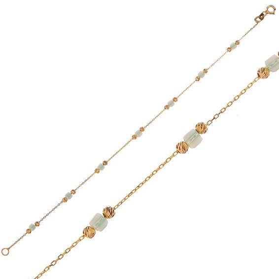 Mücevher Dünyası - 14 Ayar Dorika Ve Küp Taşlı Altın Bileklik