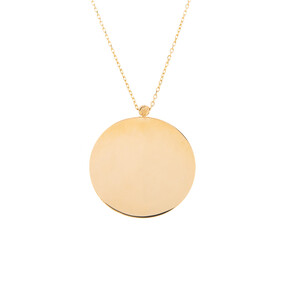 Mücevher Dünyası - 14 Ayar Dorika Yuvarlak Plaka Altın Kolye