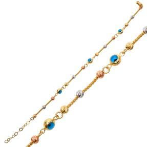 Mücevher Dünyası - 14 Ayar Dorika Yuvarlak Toplu Altın Bileklik | Mücevher Dünyası