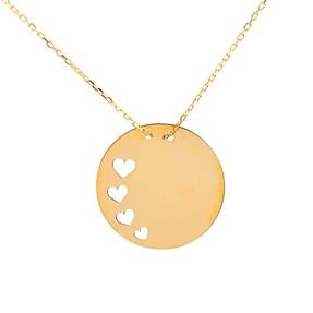Mücevher Dünyası - 14 Ayar Dört Kalpli Düz Plaka Altın Kolye
