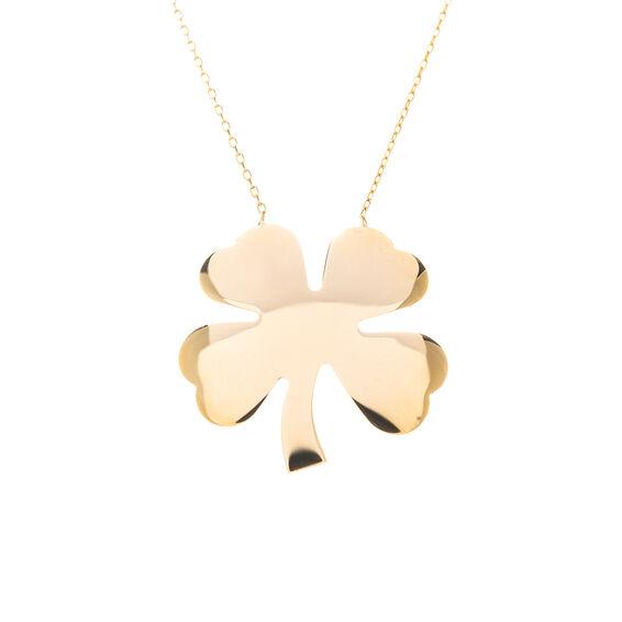 Mücevher Dünyası - 14 Ayar Dört Yapraklı Yonca Altın Kolye
