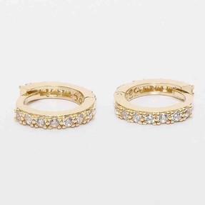 Mücevher Dünyası - 14 Ayar Düz Taşlı Altın Küpe | Mücevher Dünyası