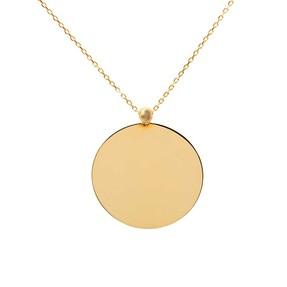 - 14 Ayar Düz Yuvarlak Sade Plaka Altın Kolye | Mücevher Dünyası