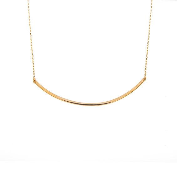 Mücevher Dünyası - 14 Ayar Eğri Çubuk Altın Kolye