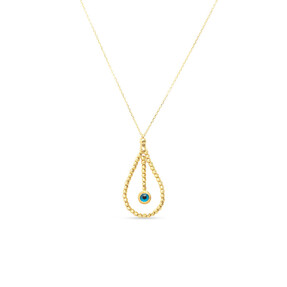 Mücevher Dünyası - 14 Ayar Taşlı Dorika Göz Damla Altın Kolye