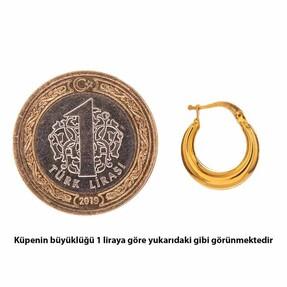 Mücevher Dünyası - 14 Ayar Halka Yaldızlı Altın Küpe (1)