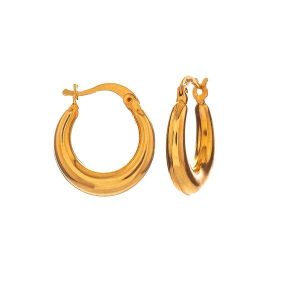 Mücevher Dünyası - 14 Ayar Halka Yaldızlı Altın Küpe