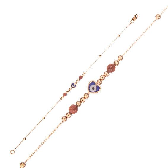 Mücevher Dünyası - 14 Ayar Taşlı Kalpli Nazar Boncuklu Altın Bileklik - 18 Cm.