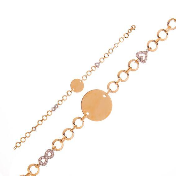 Mücevher Dünyası - 14 Ayar Taşlı Kalpli Sonsuzluk Altın Bileklik