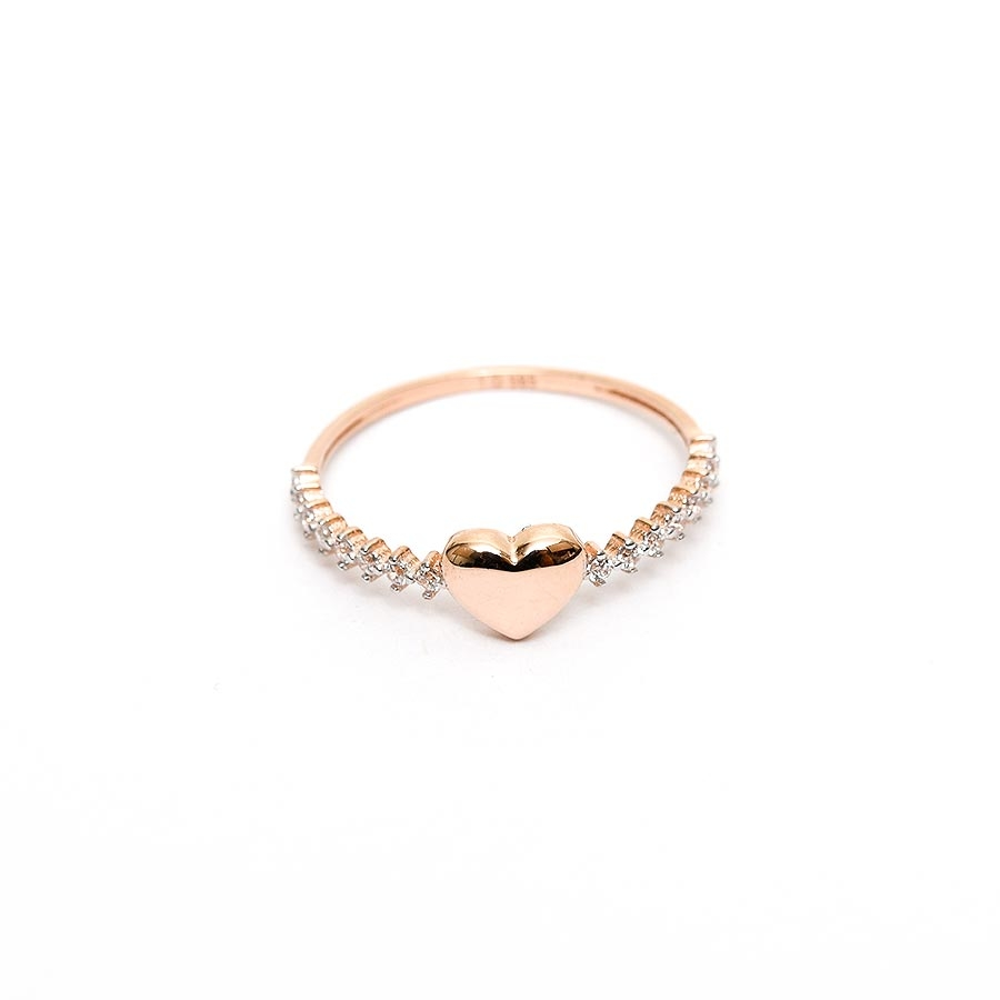 Mücevher Dünyası - 14 Ayar Kalpli ve Taşlı Altın Eklem Yüzük