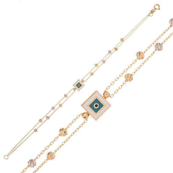 Mücevher Dünyası - 14 Ayar Kare Nazar Motifli Dorika Altın Bileklik