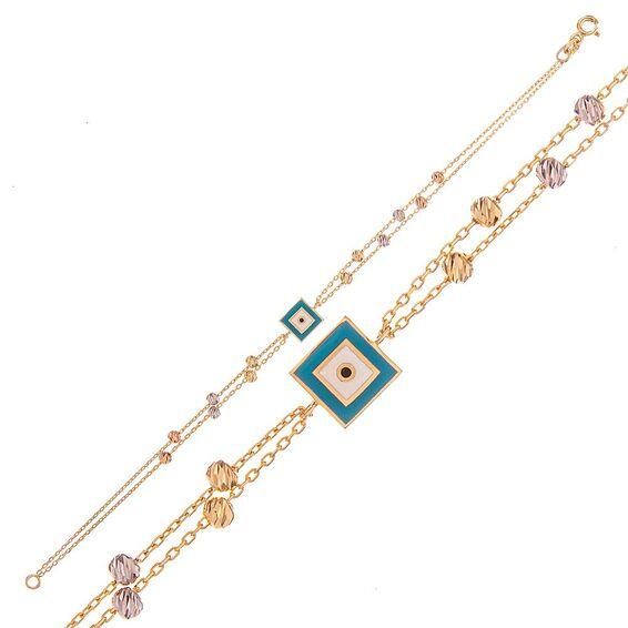 Mücevher Dünyası - 14 Ayar Kare Nazar Boncuklu Dorika Altın Bileklik