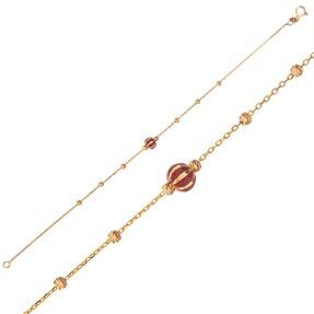 Mücevher Dünyası - 14 Ayar Kırmızı Taşlı Dorika Altın Bileklik