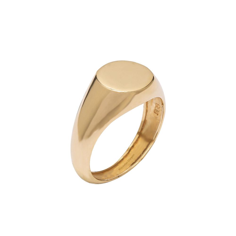 Mücevher Dünyası - 14 Ayar Klasik Altın Erkek Yüzük