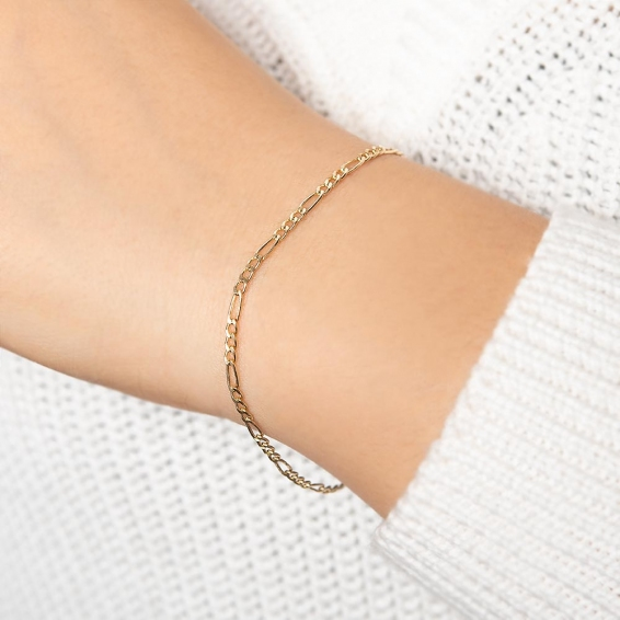 Mücevher Dünyası - 14 Ayar Figaro Altın Bileklik - 19,5 Cm.