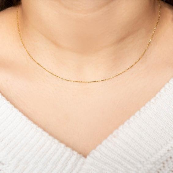 Mücevher Dünyası - 14 Ayar Klasik Zincir Altın Kolye - 40,5 Cm. - 0,6 Mm.