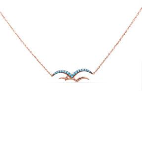 Mücevher Dünyası - 14 Ayar Taşlı Kuş Figürlü Altın Kolye