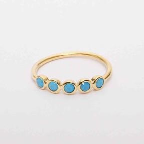 Mücevher Dünyası - 14 Ayar Mavi Beş Taş Altın Yüzük | Mücevher Dünyası