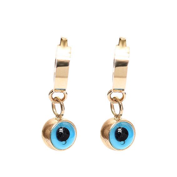 Mücevher Dünyası - 14 Ayar Taşlı Mavi Boncuklu Çocuk Altın Küpe