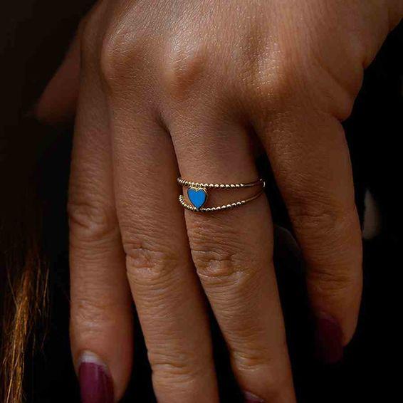 Mücevher Dünyası - 14 Ayar Mavi Kalpli Altın Yüzük | Mücevher Dünyası