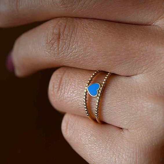 Mücevher Dünyası - 14 Ayar Mavi Kalpli Altın Yüzük | Mücevher Dünyası - 14