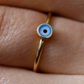 Mücevher Dünyası - 14 Ayar Mavi Nazar Altın Eklem Yüzük   Mücevher Dünyası